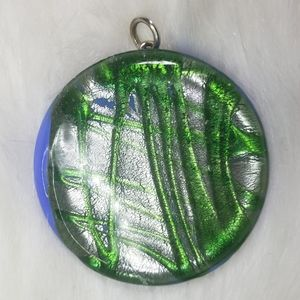 Jewelry - Big Silver and Green Glass Pendant